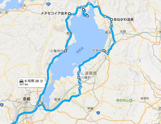 琵琶湖1周ツーリングの地図