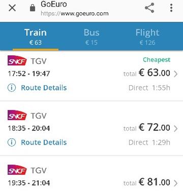 パリからレンヌまでの列車のチケット