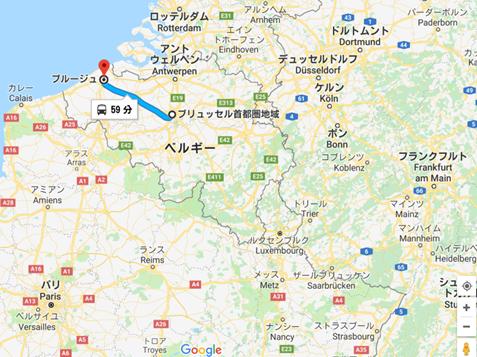 ブリュッセルからブルージュの地図