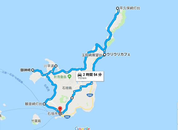石垣島一周ドライブのルート地図